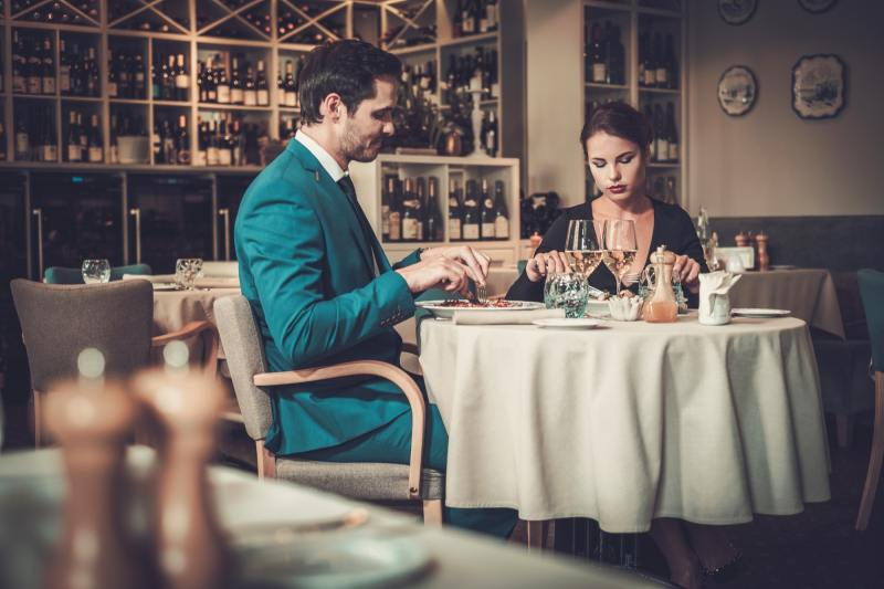 Stylish couple in a restaurant