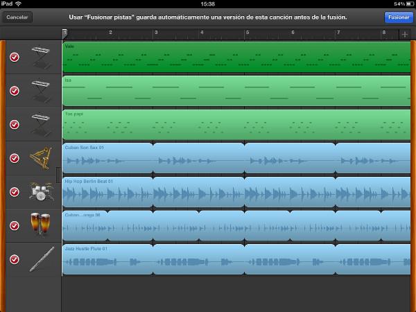 Fusionar pistas en un proyecto de Garageband iOS