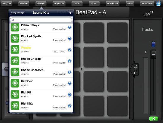 seleccionar instrumento con la aplicación BeatPad