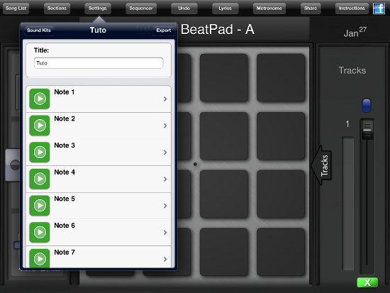 añadir sonidos a BeatPad