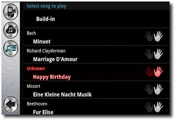 seleccionar canción en Pianist HD – Finger Tap Piano