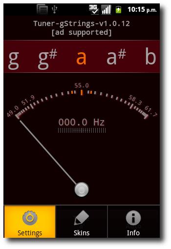 Como afinar una guitarra utilizando gStrings Android