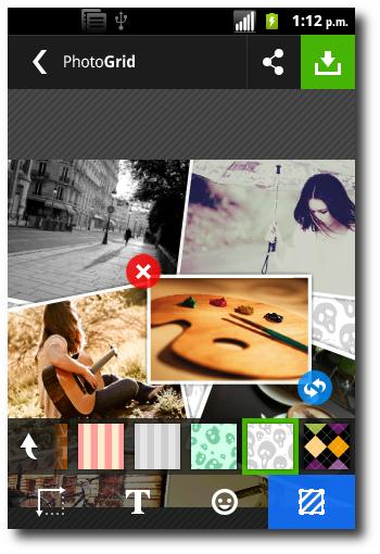 agregar fondo al collage en Photo Grid