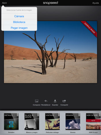 trabajando con filtros en Snapseed iPad