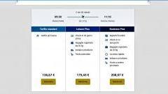 screenshot sulle differenti tariffe a scelta offerte dalla compagnia