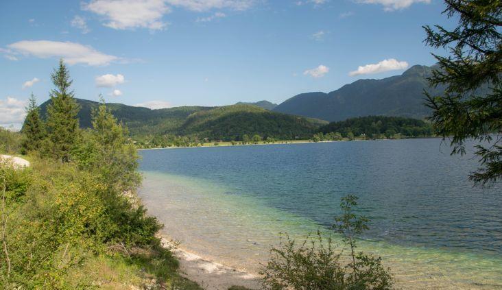 vista sull'azzurro lago bohinj