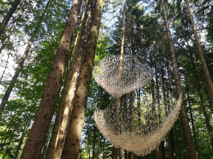 installazione in vetro fra gli alberi
