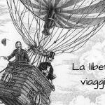 Esseri liberi di viaggiare come Mr Fogg nel disegno con la mongolfiera