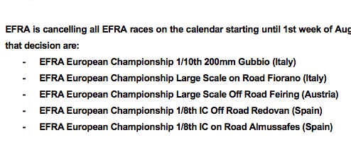EFRA events, the following races have been cancelled