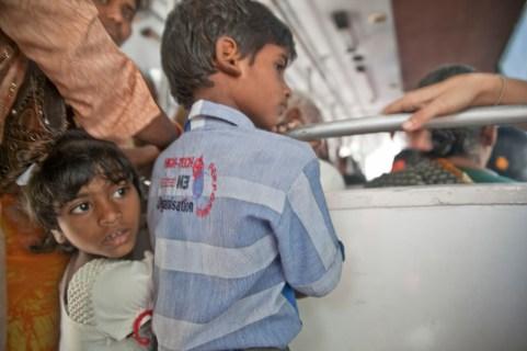 Un autobús en Pondicherri, Tamil Nadu