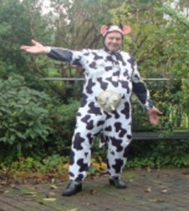 Ted in cow costume for hallowe'en