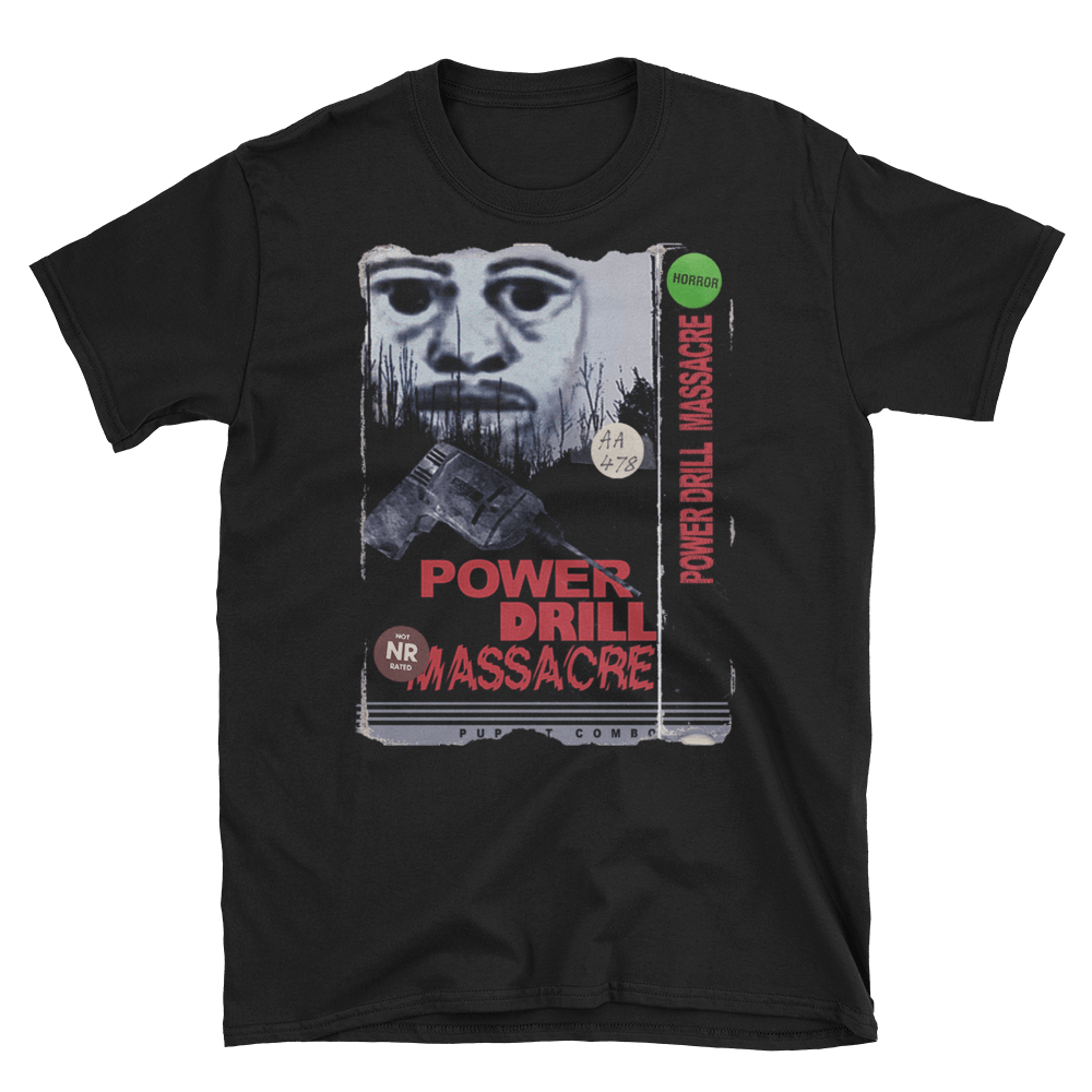 The Power Drill Massacre Police Sketch Vhs Tshirt Puppet Combo Store