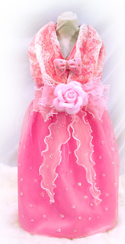 Pink evening gown/ wedding dog clothes