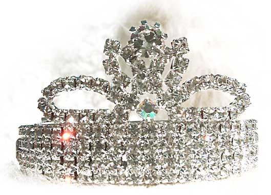 Flower Rhinestone Crown Dog Barrette