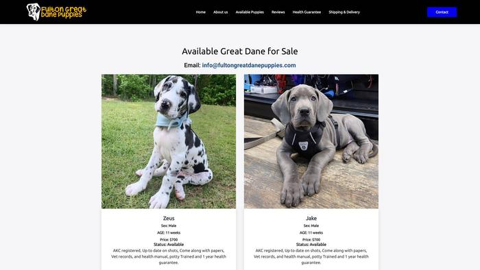 Fultongreatdanepuppies.com - Great Dane Puppy Scam Review