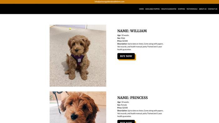 Jacksongoldendoodlefarm.com - Golden Doodle Puppy Scam Review