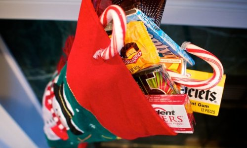 christmas stocking filled with candy