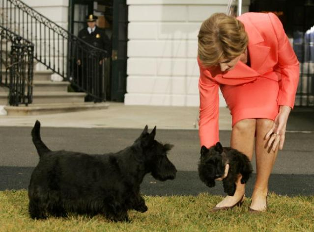 President And Mrs. Bush Show Off New Puppy