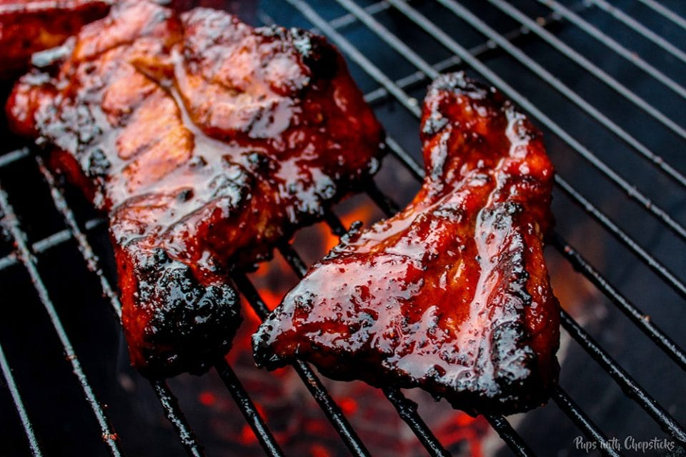 Fully cooked Chinese BBQ Pork (aka Char Siu) with charring on the grill
