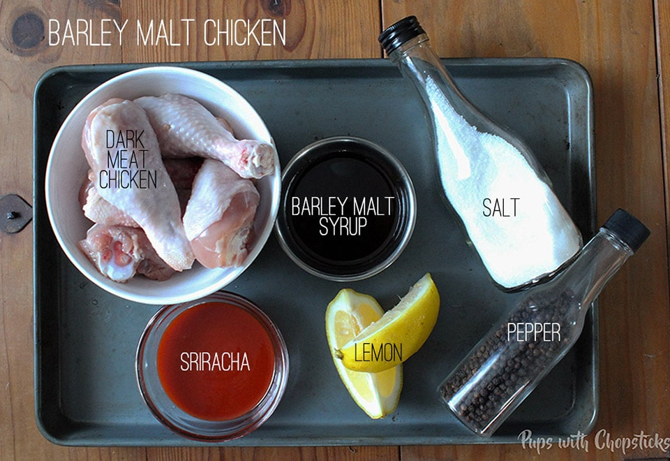 Barley Malt Sriracha Chicken with Garlicky Mushroom