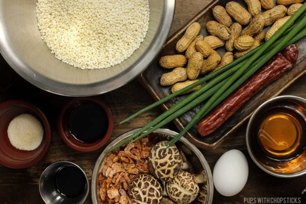 Ingredients for Chinese Sticky Rice (Lo Mai Fan)