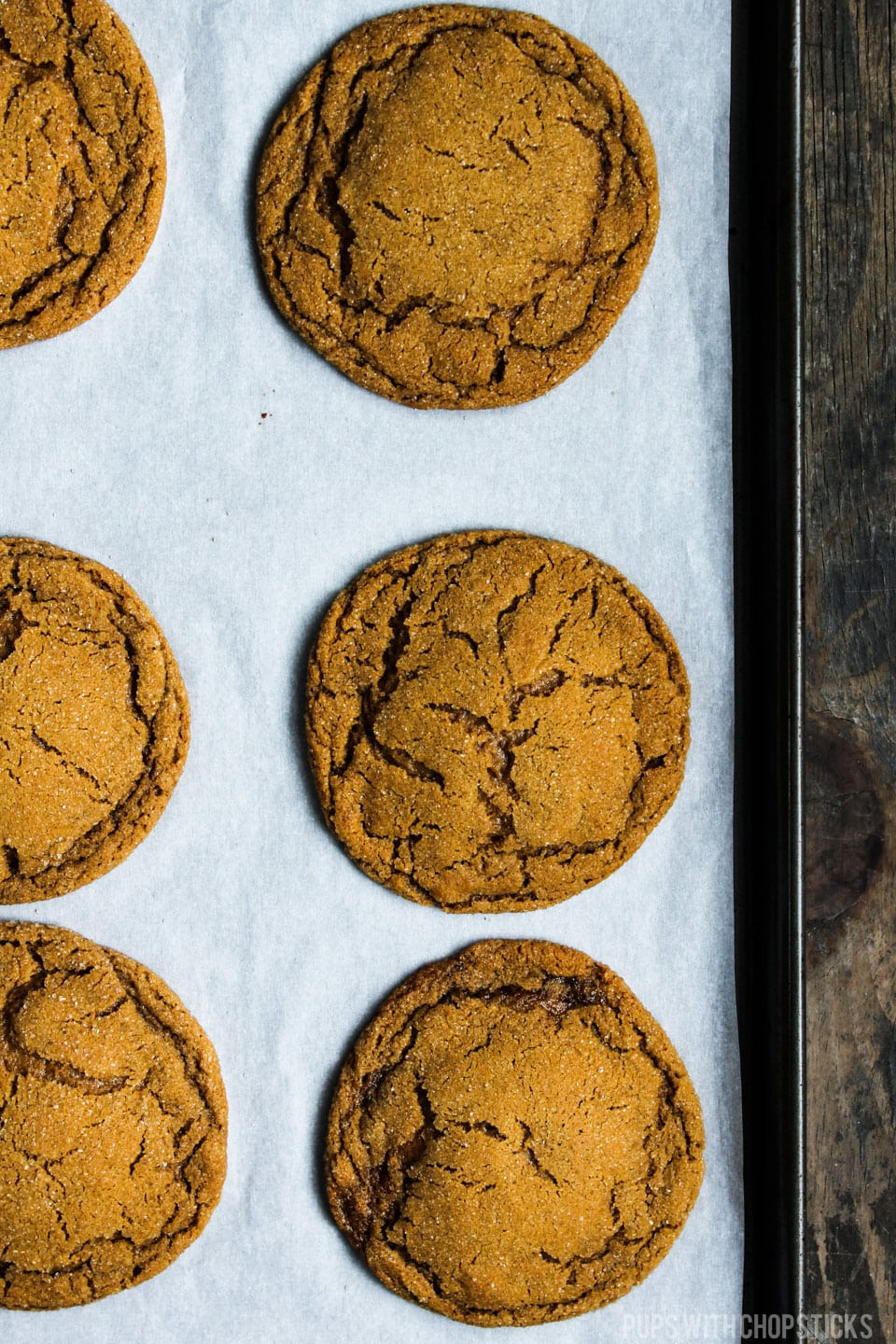 These chewy ginger molasses cookies are soft and chewy with a hint of five spice and vanilla. They are fantastic on their own, and absolutely to die for when paired up with ice cream and made into a ice cream sandwich! #cookie #recipe #dessert #snack #gingermolasses #chewy #soft