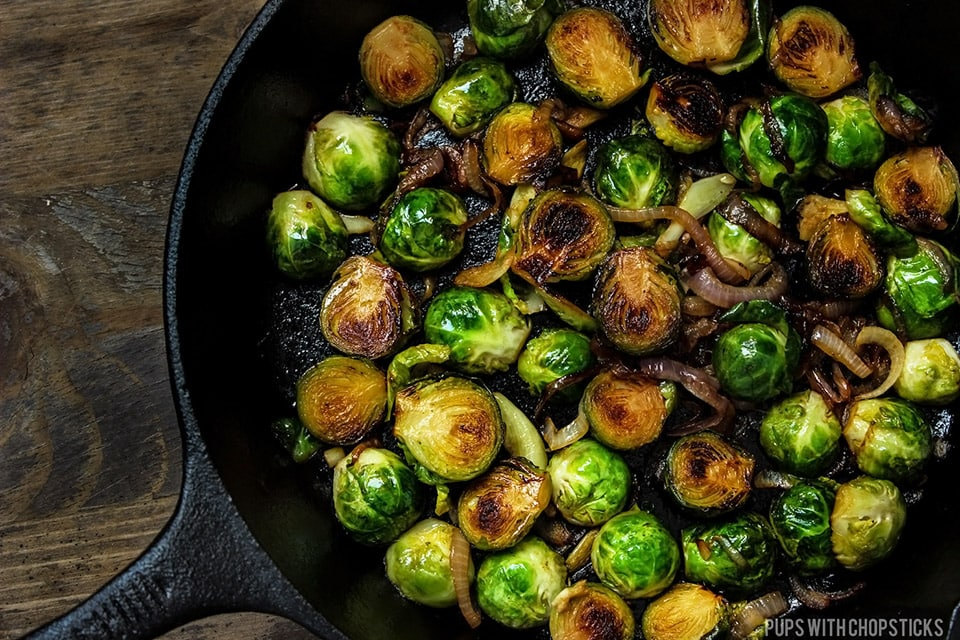 Honey Glazed Pan Fried Brussels Sprouts