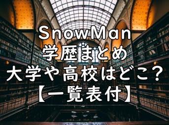 SnowMan メンバー 学歴 スノーマン