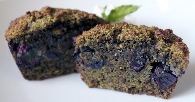 Matcha Blueberry Morning Kick Muffins
