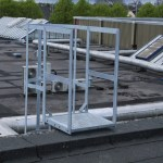 Mild steel galvanised safety ladder with cage and access platform - top view