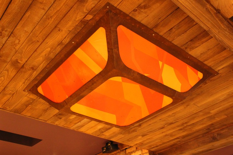Painted Rust Effect Mild Steel Ceiling Light Frame with Perspex Infill (2)