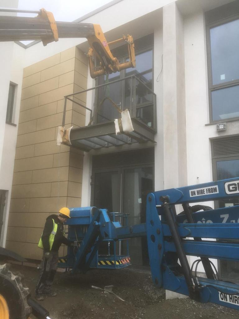 Installation of balconies at Peamount Hospital