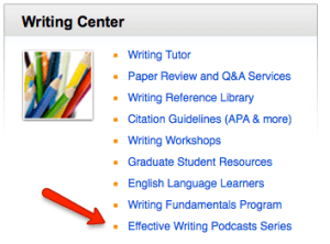 Accademic Support Center with arrowing pointing to Effective Writing Podcast Series in the Writing Center