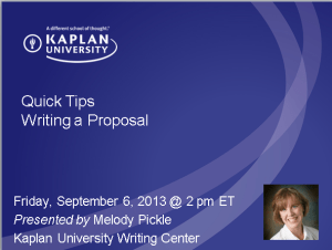 """Title Slide """"Quick Tips: Writing a Proposal"""