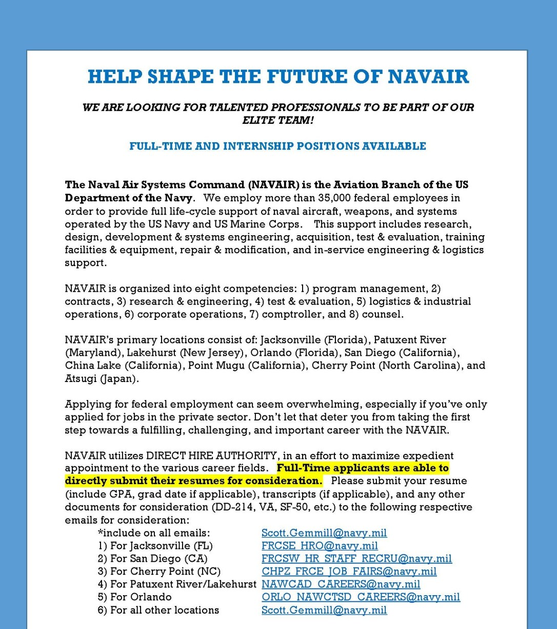 NAVAIR Full-time & Intern Opportunities – Undergraduate Blog