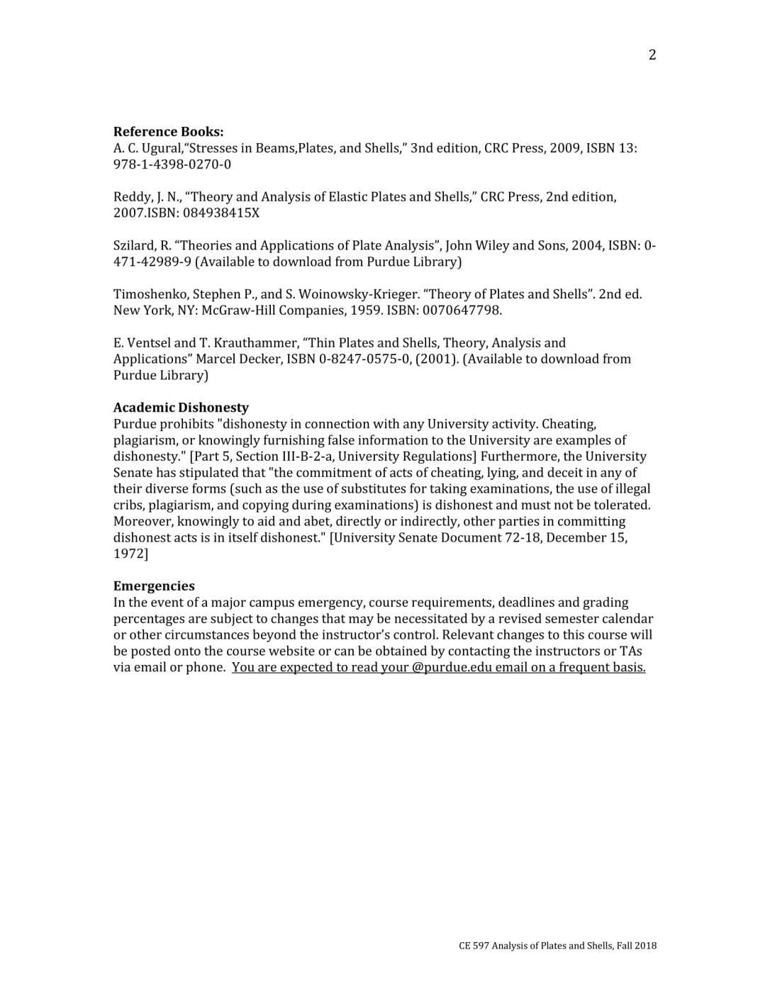 Syllabus_CE597 Analysis of Plates and Shells - Fall 2018-2