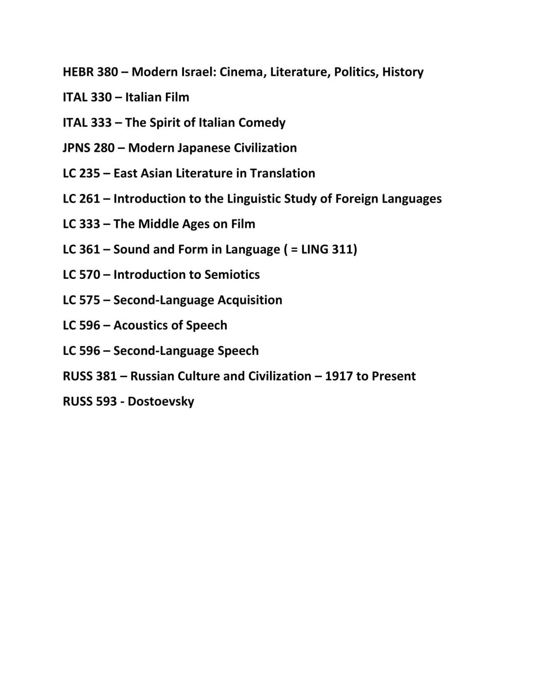 spring 2019 English-Taught Courses SLC-2