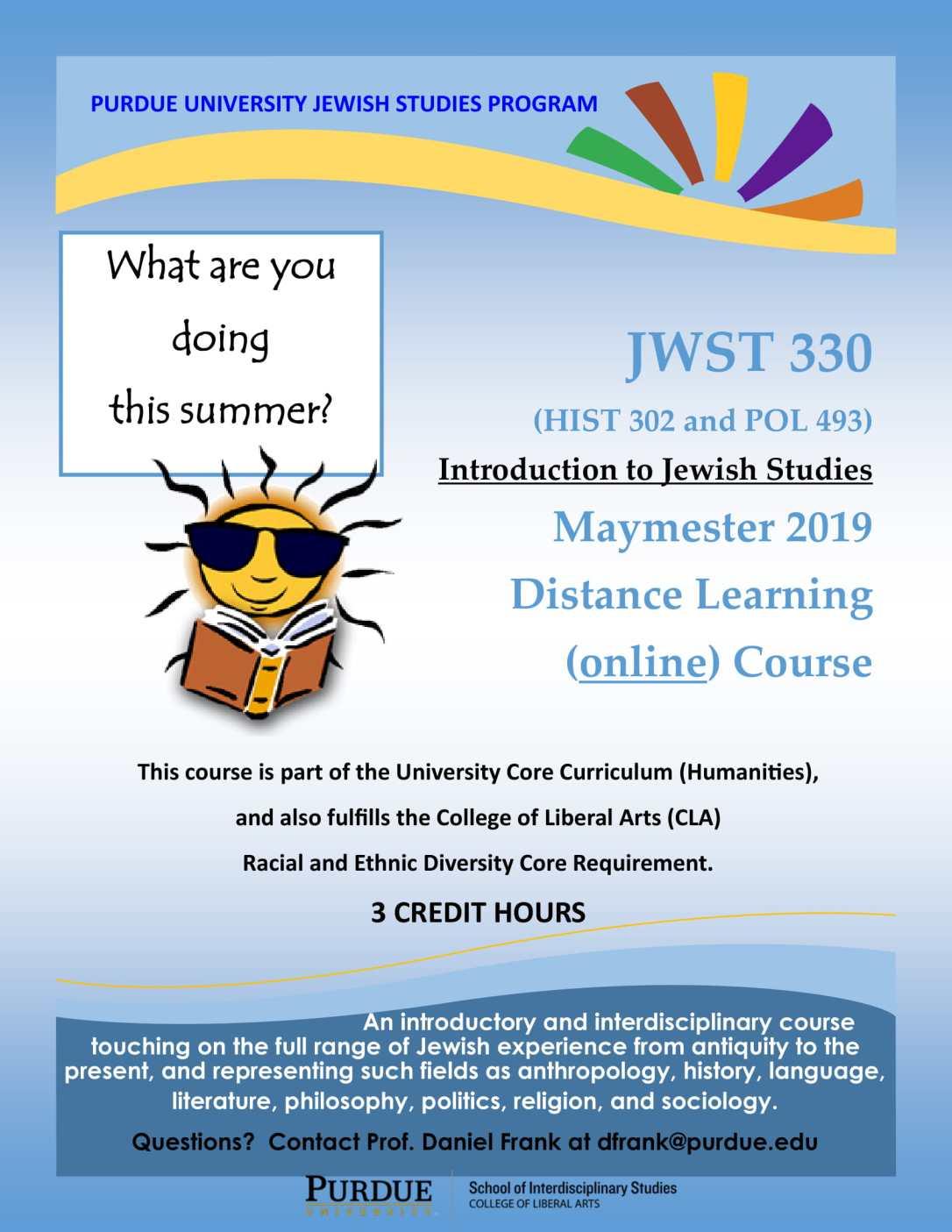 JWST330 distance learning online maymester 2019-1