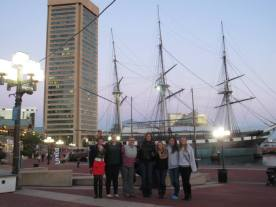 Baltimore sightseeing with ship and skyline