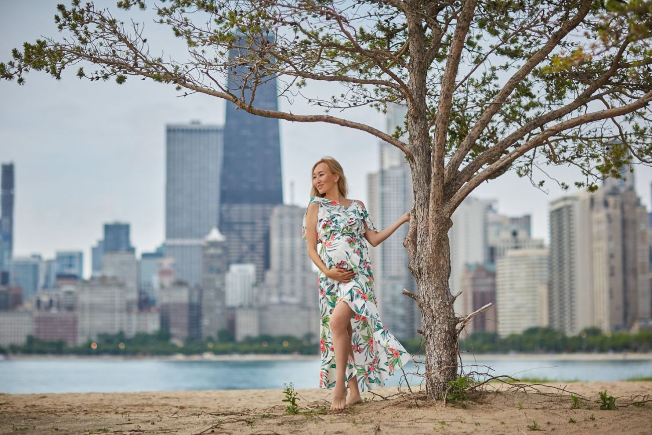 maternity boudoir chicago north ave beach skyline - Listing E