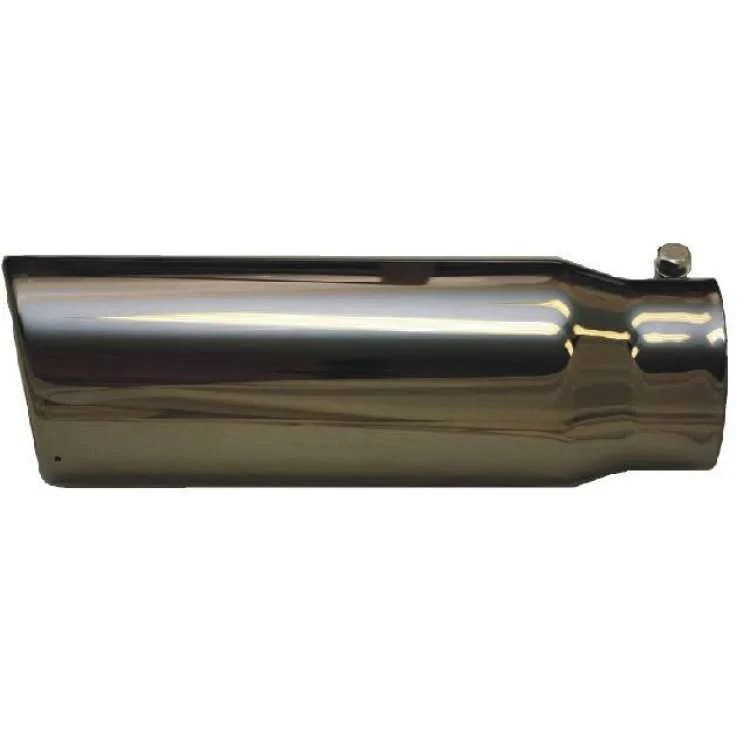 4 inch inlet 5 inch outlet black chrome clamp on exhaust tip