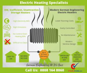 replace electric storage heaters Glasgow, Edinburgh & Scotland