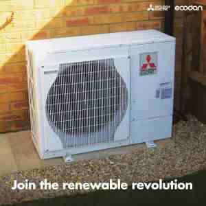 Mitsubishi ecodan air source heat pump Glasgow & Scotland