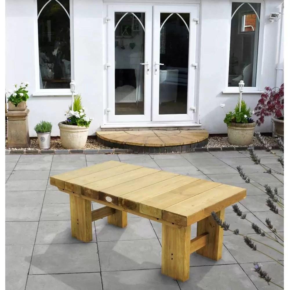 wooden low level sleeper garden patio coffee table 1 2m