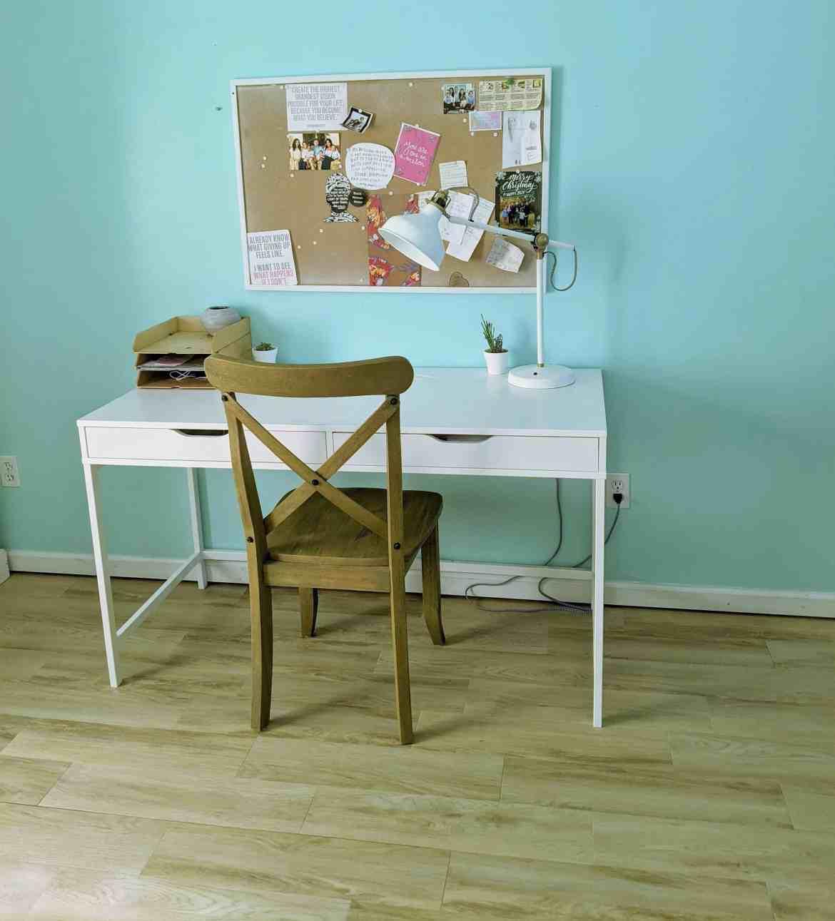 blue girls bedroom white desk