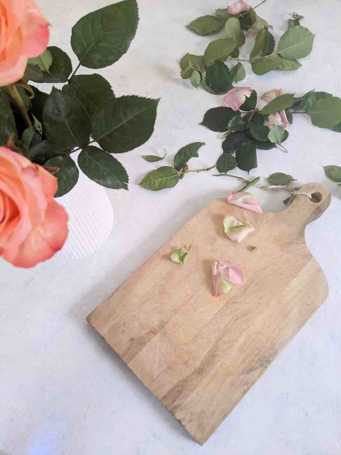roses and cutting board