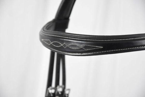 Browband Shaped Fancy Stitch, Black
