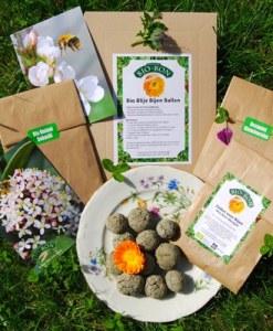 blije bijen ballen, pure horse, biologisch, bijen en hommels, nectar, bloemen, zelfmaak zaadbommetjes