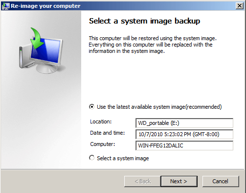 Select a system image backup window.