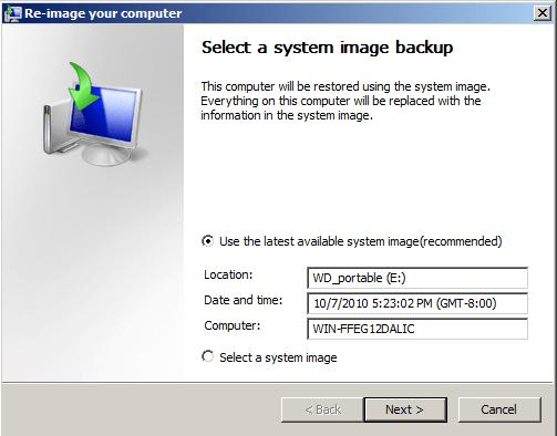 Select a system image backup window.